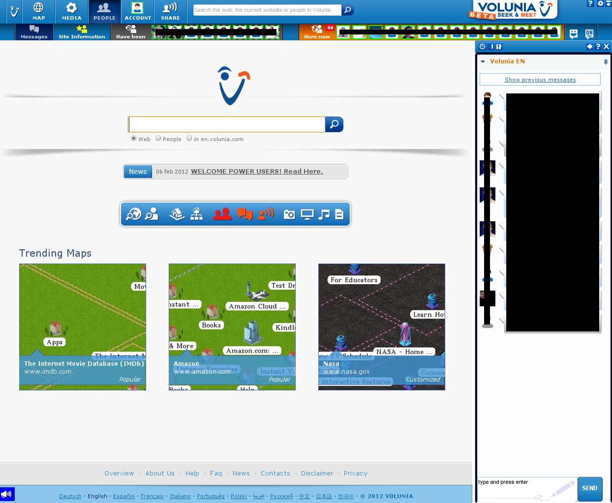 Screenshot of Volunia homepage